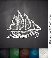 sailing ship icon. Hand drawn vector illustration....