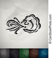blowing cloud icon. Hand drawn vector illustration....
