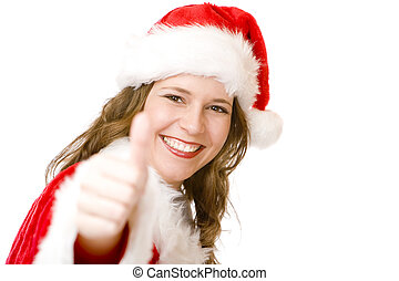 Happy Santa Claus woman with Christmas costume shows thumb up