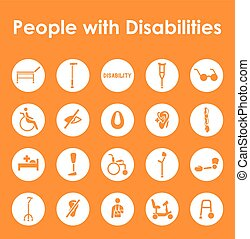 Set of people with disabilities simple icons - It is a set...