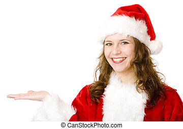 Happy Santa Claus woman holding hand for advertisement sign