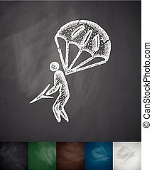 parachuter icon. Hand drawn vector illustration. Chalkboard...