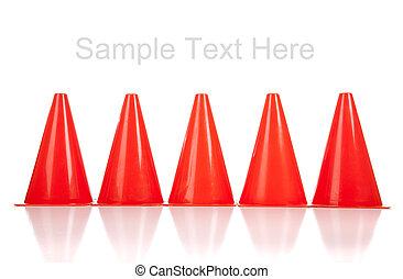 Orange safety cones on white - Orange safety cones on a...