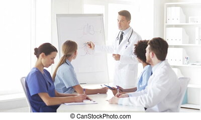 group of doctors on presentation at hospital - hospital,...