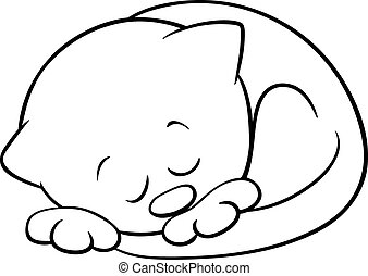sleeping kitten coloring book