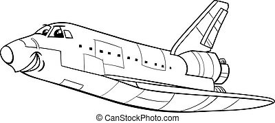 space shuttle coloring book - Black and White Cartoon...