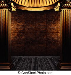 vector bronze columns and tile wall