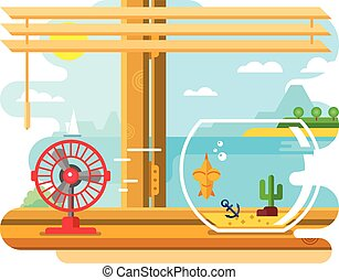 Fan and Aquarium on Windowsill Next to Open Window - Fan and...