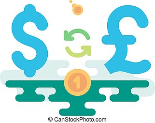 Dollar Pound Currency Exchange concept vector illustration...