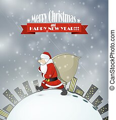 Santa Claus came at night to town deliver gifts.Vector...