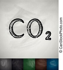 carbon dioxide icon Hand drawn vector illustration...