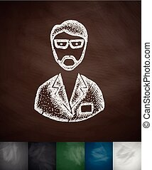 chemist icon. Hand drawn vector illustration. Chalkboard...