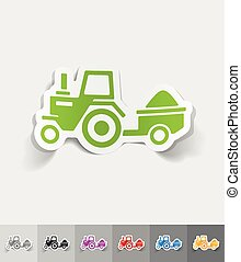 realistic design element tractor with trailer - tractor with...