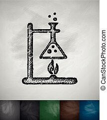 bunsen burner icon. Hand drawn vector illustration....