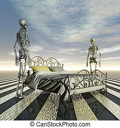 Marital problems - two skeletons with marital problems...