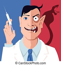Immunization controvercy - Portrait of a doctor with a...