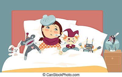 Sick kid - Cute little girl lying in bed with her toys, all...