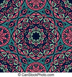 Bright floral pattern with mandalas.