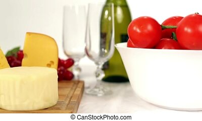 Naturmort Wine Cheese And Vegetables On The Table. - DOLLY....