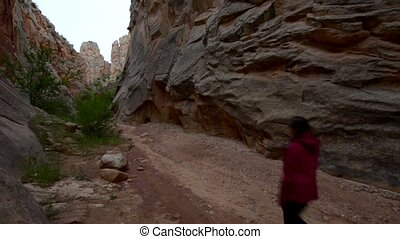 Hiker in South Cottonwood narrows near Road 400 Utah -...