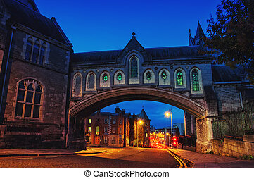 Arch of the Christ Church Cathedral in Dublin, Ireland at...