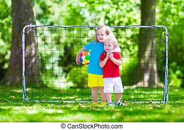 niños, juego, fútbol, Aire libre,