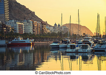 Sunrise over the Alicante harbor, Costa Blanca, Spain