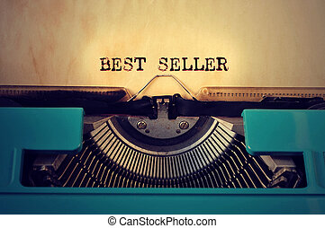 retro typewritter and text best seller written with it -...