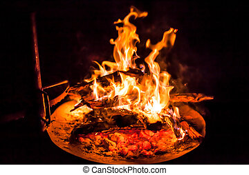 BBQ grill - Barbeque BBQ grill with fire in the night in...