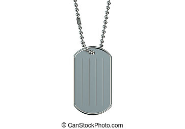 dog tag  closeup isolated on white background