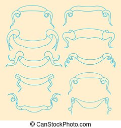 Hand-drawn banners set Vector illustration isolated on white...