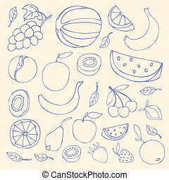 Set Sketches of fruit, isolated, vector illustration