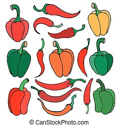 Set of pepper, doodle vector illustration. Isolated on white