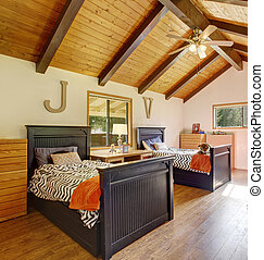 Chic kids room with vaulted ceiling and fan. - Chic kids...