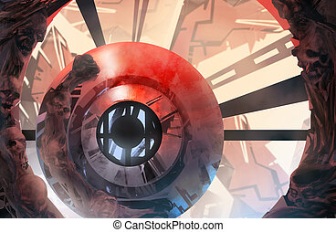 Infernal futuristic background. - Infernal crimson and blue...
