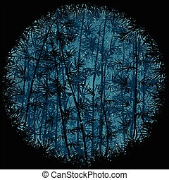 Bamboo Forest at Night - Bamboo forest background at night