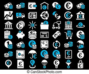 Euro Banking Icons. These flat bicolor icons use blue and...