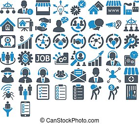 Business Icon Set. These flat bicolor icons use smooth blue...