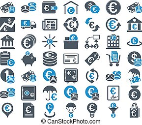 Euro Banking Icons. These flat bicolor icons use smooth blue...
