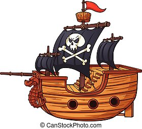 Pirate ship - Cartoon pirate ship. Vector clip art...