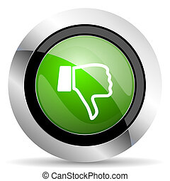 dislike icon, green button, thumb down sign