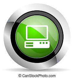 computer icon, green button, pc sign