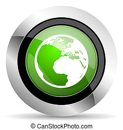 earth icon, green button, world sign