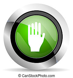 stop icon, green button, hand sign