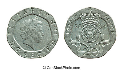 british twenty pence coin isolated on white with clipping...