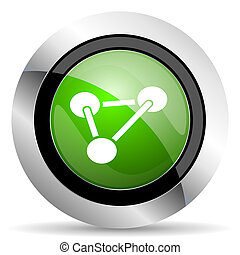 chemistry icon, green button, molecule sign