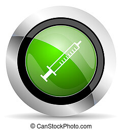 medicine icon, green button, syringe sign