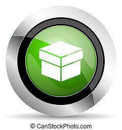 box icon, green button
