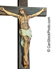 Jesus Christ crucified - Cross of Jesus Christ isolated on...