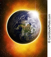 Glowing earth in outer space